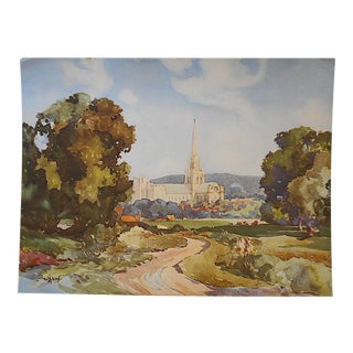 """Vintage Lithograph-England-Chichester 16""""x12"""""""