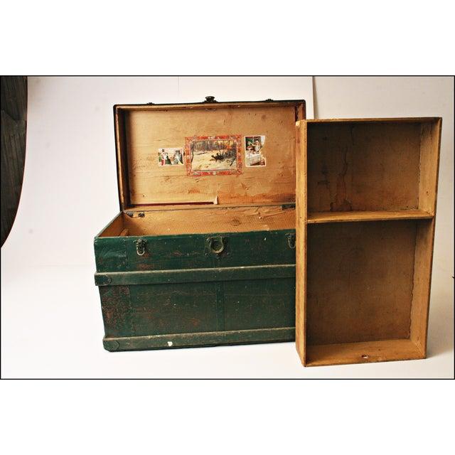 Vintage Industrial Green Wood Steamer Trunk - Image 8 of 11