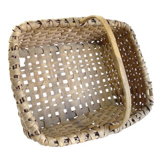 Antique Splint Oak Gathering Basket
