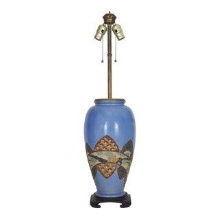 Antique Chinoiserie Blue Vase Lamp