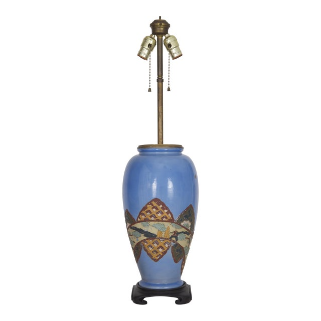 Antique Chinoiserie Blue Vase Lamp - Image 1 of 6