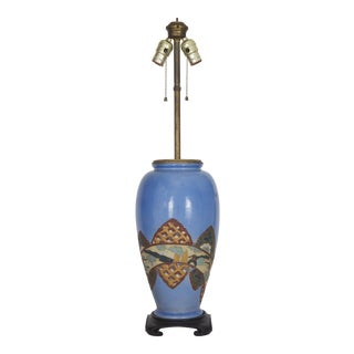 Antique Chinoiserie Blue Vase Lamp