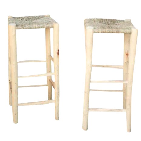 Moroccan Hand-Carved Bar Stools - A Pair - Image 1 of 5
