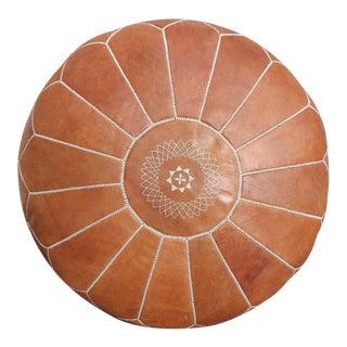 Tan Like Sand Moroccan Leather Ottoman