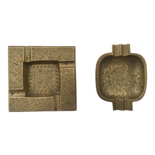 Vintage Solid Brass Etched Ashtrays - Pair