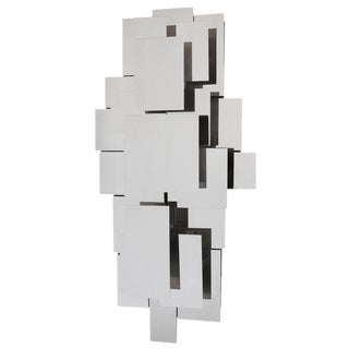Reggiani Style Polished Steel Wall Light Sculpture
