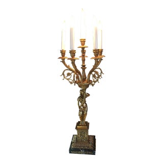 Italianate Brass Figural Table Lamp