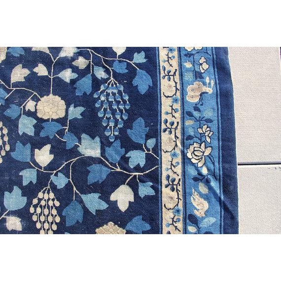 Indigo Blue Chinoiserie Art Deco Rug - 7′ × 20′ - Image 4 of 5