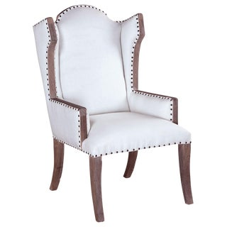 Linen Wingback Armchair With Nailhead Trim