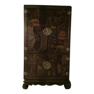 Henredon Asian Black Chinoiserie Illuminated Media Cabinet
