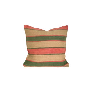 Vintage Green and Pink Flatweave Moroccan Pillow