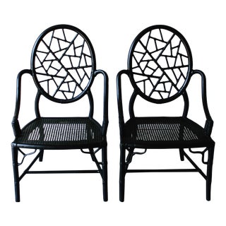 Vintage McGuire Cracked Ice Black Chairs - Pair