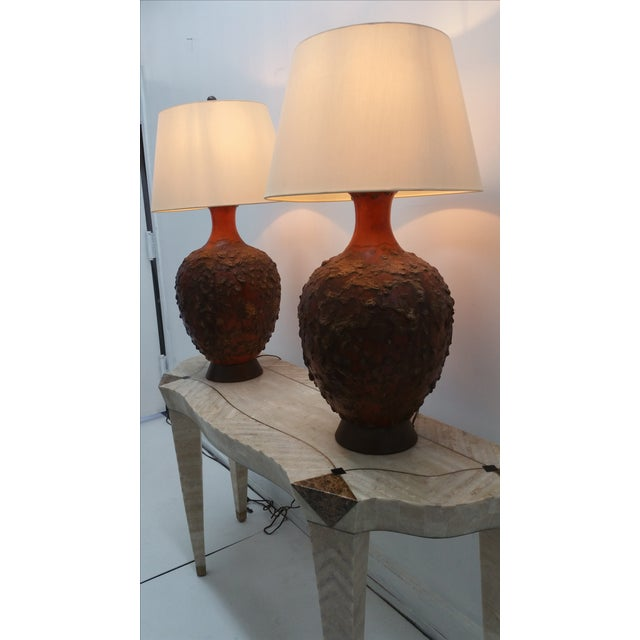 Image of Midcentury Monumental Lava Glaze Lamps - Pair
