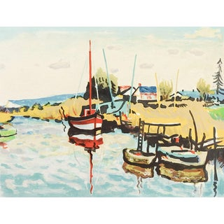 French Harbor Scene, Lithograph