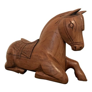 Carved Wood Horse Box Statue