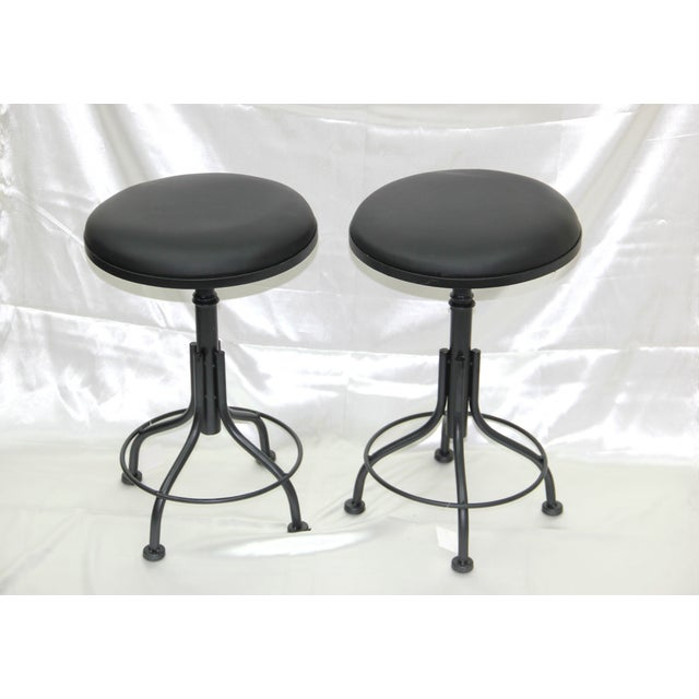 Image of Round Leather Stools - A Pair