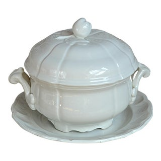 French White Stoneware Tureen