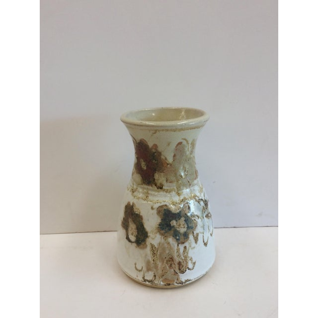 Image of Abstract Floral Design Studio Pottery Vase