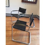 Image of Mart Stam Style Chrome & Vinyl Cantilever Chairs - a Pair