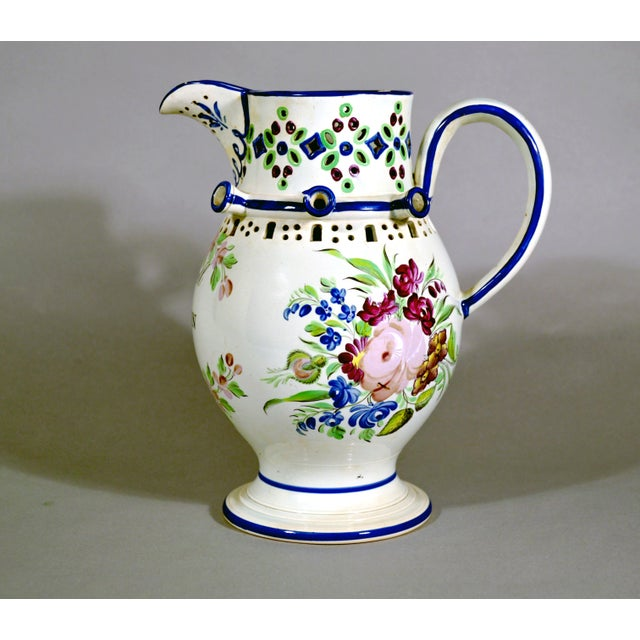 Newcastle Pearlware Botanical Pottery Presentation Puzzle Jug, Inscribed John Denvell, Long-Benton & Dated 1830. - Image 3 of 5