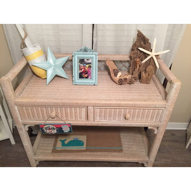 Image of Henry Link Wicker Rolling Console Cart