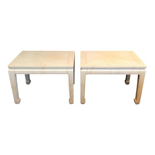 Henredon Goatskin Lacquered End Tables - A Pair