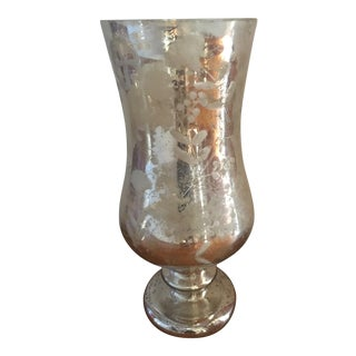 Very Large Silver Mercury Glass Vase Candleholder
