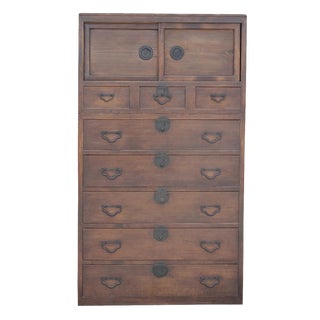 Antique Cedar Tansu Tall Dresser
