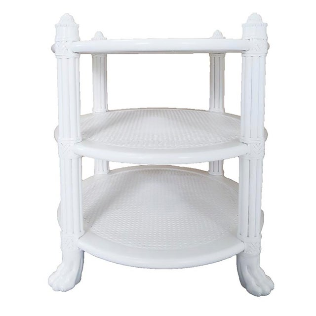 White Ficks Reed Side Tables, Pair - Image 3 of 5