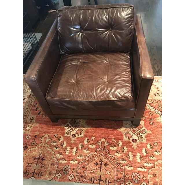 Tufted Brown Leather Armchair - Image 2 of 4