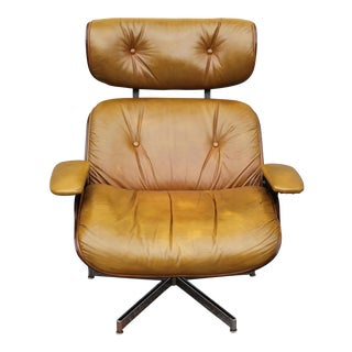 1960s Vintage Eames Style Leather Lounge Chair