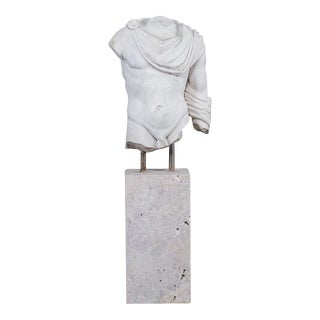 Vintage Italian Marble Torso of a Youth Mounted on a Marble Base circa 2000