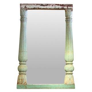 Distressed Green Pillar Framed Mirror