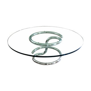 Paul Tuttle Anaconda Chrome Glass Coffee Table