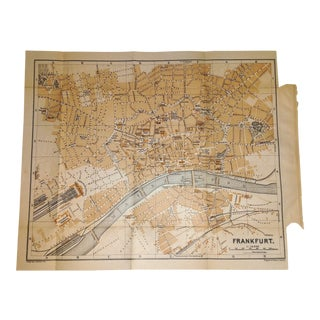 1892 Map Frankfurt Germany Detailed City Map Along Main River
