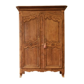 18th Century French Country White Oak Armoire