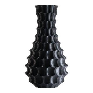 Scalloped Black Plastic Modern Vase