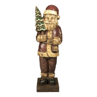 Painted Hand Carved Wood Santa Claus