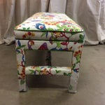 Image of Upholstered Bench in Peacock Print Linen