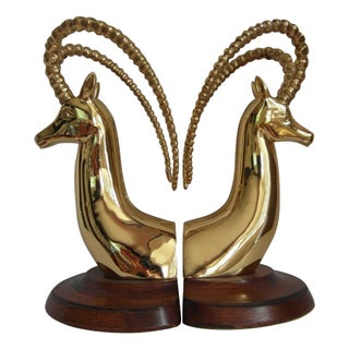 Vintage Brass Antelope Bookends