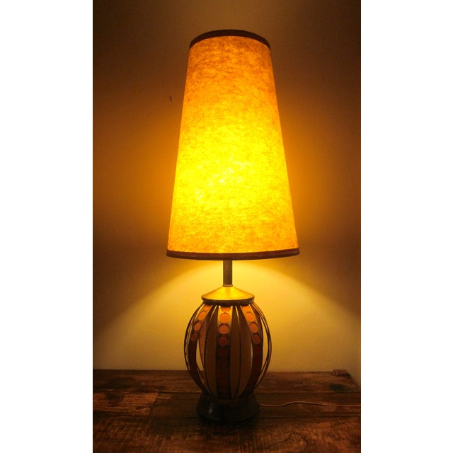 Mid Century Modern Orange Dot Brass Lamp - Image 5 of 9