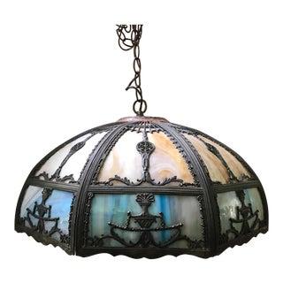 Antique Art Nouveau Slag Glass Light Chandelier