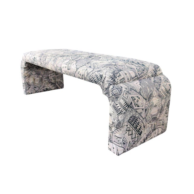 Upholstered Karl Springer Style Waterfall Bench - Image 2 of 4