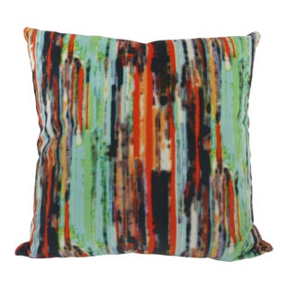 Custom Rainbow-Striped Multi-Colored Velvet Pillow