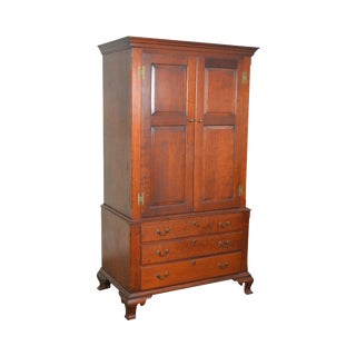 Eldred Wheeler Bench Made Chippendale Style Linen Press Cabinet