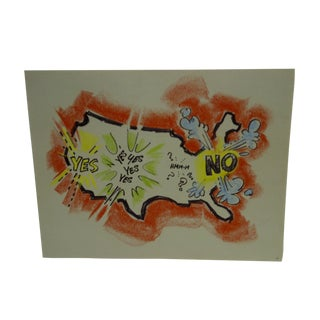 Vintage Pittsburgh Post Gazette Sketch Yes-No America by John Johns