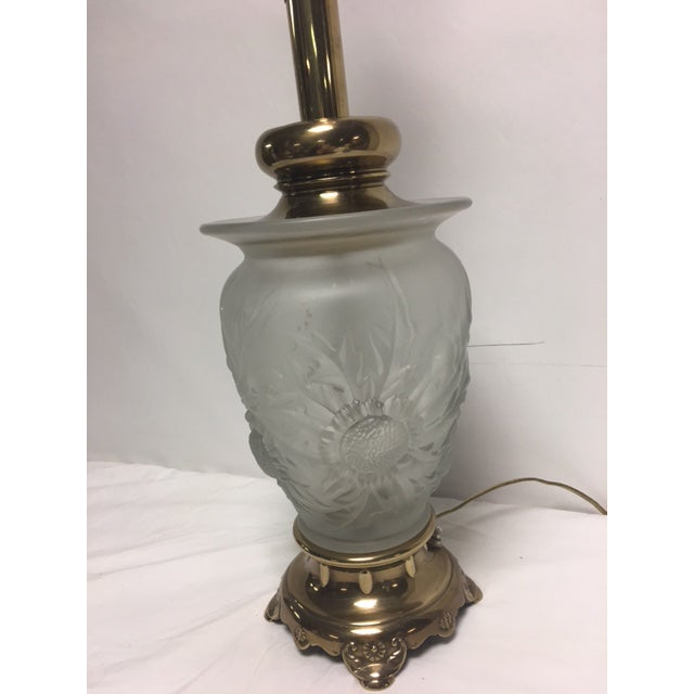 Rembrandt Frosted Glass Floral Table Lamp - Image 5 of 9