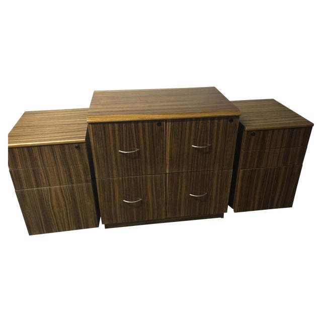 Mid-Century Wood Filing Cabinet - Set of 3 - Image 1 of 8