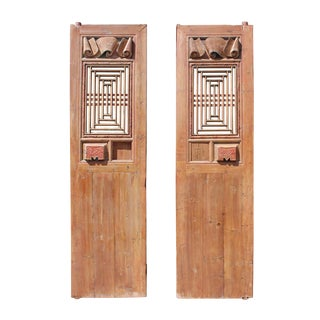 Chinese Vintage Dimensional Scroll Carving Wood Door Panels - A Pair