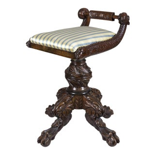 Classical Carved Mahogany Piano Stool with Dolphins
